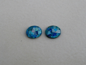 Opal mosaic rainbow oval triplet pair 10 x 8mm