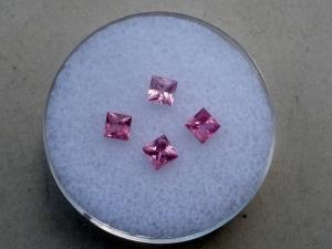 4 Pink Sapphire princess gems 3mm each