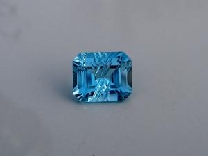 Swiss blue topaz emerald laser cut gem 12 x 10mm