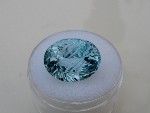 Sky blue topaz oval laser gem 15.5 x 12mm