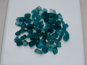 Blue Apatite crystal rough gem mix parcel over 100 carats