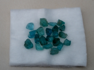 Blue Apatite crystal rough gem mix parcel over 25 carats
