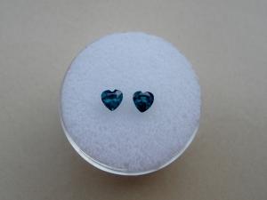 Teal Green Topaz Heart Gem Pair 4mm