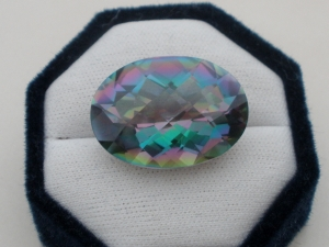 Rainbow mystic quartz oval cushion gem 40 carats