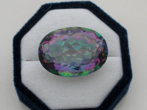 Rainbow mystic quartz oval gem 64 carats