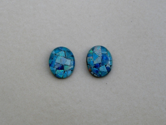 Opal mosaic rainbow oval triplet pair 10 x 8mm