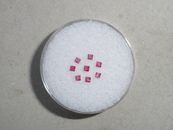 8 Red Ruby Square Gems 1.5mm each