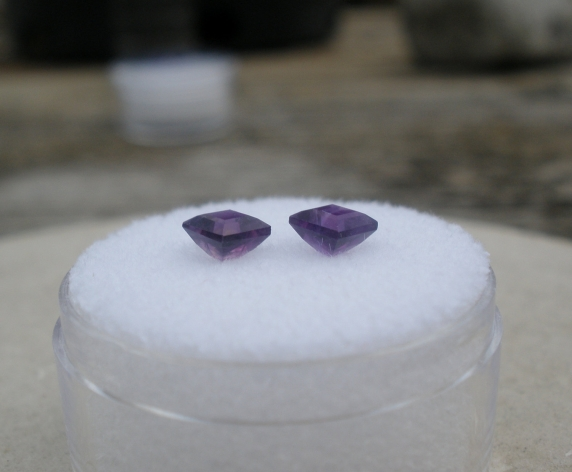 2 Loose Natural African Amethyst Square Gems 4mm Each