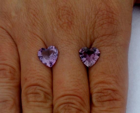 10mm Heart Shape Amethyst Gem Pair in AAA Grade