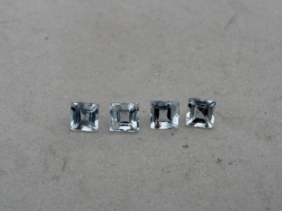 4 Aquamarine square loose gems 3mm each