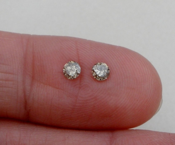 Champagne natural diamond loose faceted round pair 3.5mm each