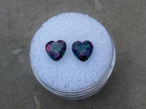Rainbow Mystic Topaz Heart Shape Gem Pair 7mm