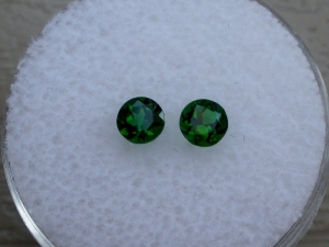 Matching Pair 4 mm Green Round Chrome Diopside in AAA Grade