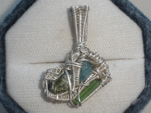 Multi Tourmaline Wire Wrapped Sterling Silver Pendant