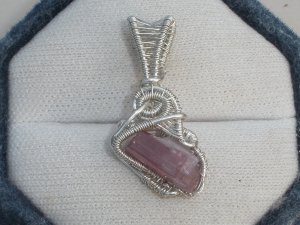 Rubellite Sterling Silver Wire Wrapped Pendant