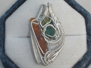Tourmaline and Kyanite Wire Wrap Pendant