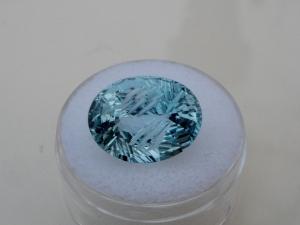 Sky blue topaz oval laser gem 15.5 x 12mm