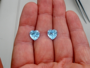 Swiss blue topaz heart laser cut gem pair 10mm
